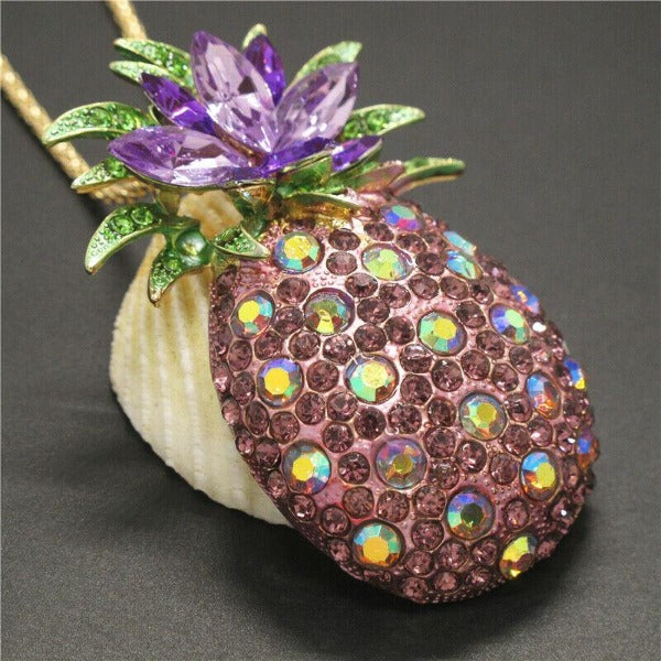 Betsey Johnson Pineapple Purple Crystals Gold Pendant Necklace