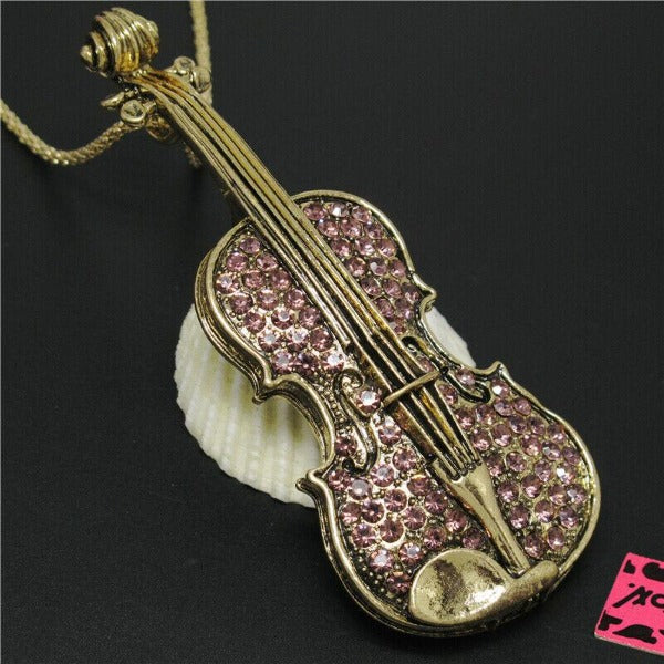 Betsey Johnson Violin Purple Crystal Rhinestone Brooch Pendant Necklace