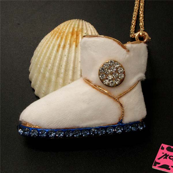 Betsey Johnson Snow Boot Crystal Pendant Necklace