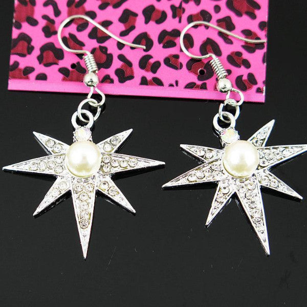 Betsey Johnson Stars With Faux Pearl & Crystals Dangle Silver Earrings