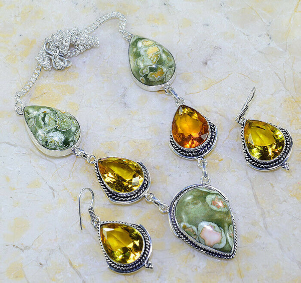 Ocean Jasper Citrine Silver Plated Necklace & Earrings Set
