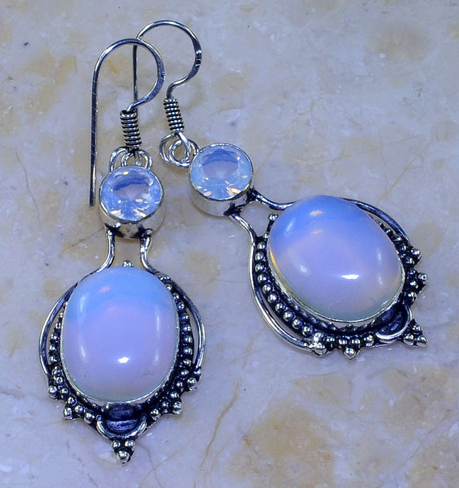 OPALITE GEMSTONE HANDMADE .925 SILVER PLATED EARRINGS 2 1/2