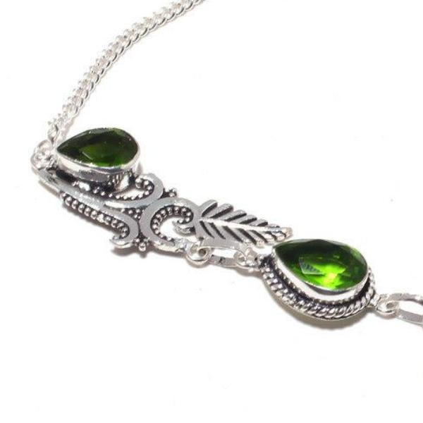 Ocean Jasper, Green Peridot Handmade Silver Plated Necklace