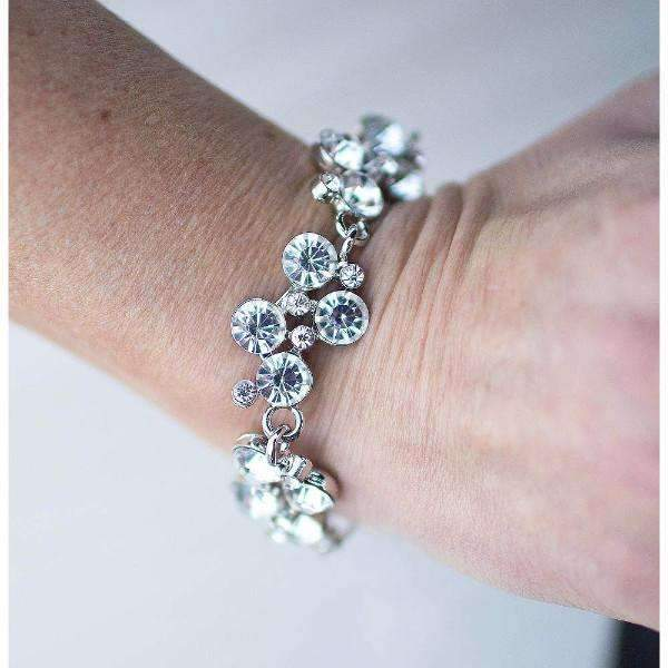 """Old Hollywood"" Brilliant White Rhinestones Silver Classic Bracelet"
