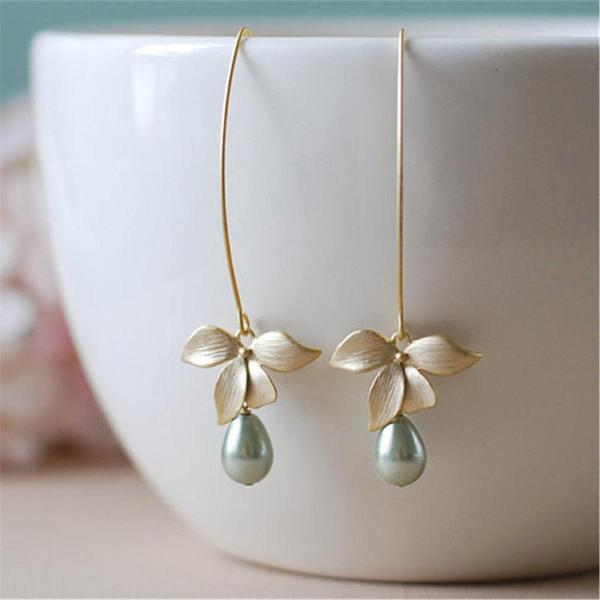 Sage Green With Dangling Bead Gold Flower Earring
