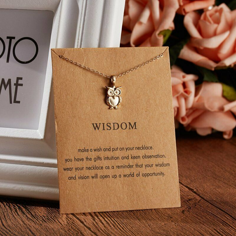 Owl 'WISDOM' Note Card Gold Necklace