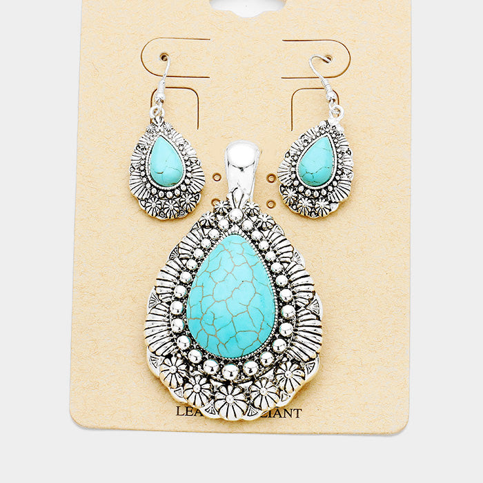 Turquoise (faux) Round Pendant Necklace & Earring Set