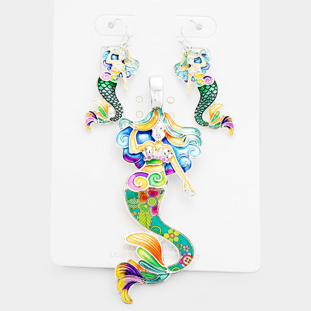 Mermaid Multi-Colored Pendant Necklace & Earring Set