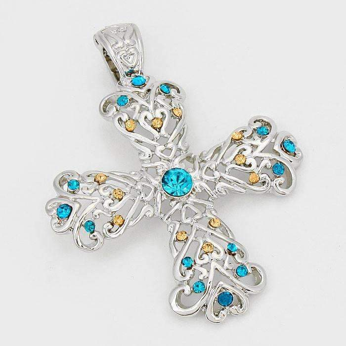 Cross Topaz & Blue Colored Crystal Accented Filigree Silver Pendant Necklace