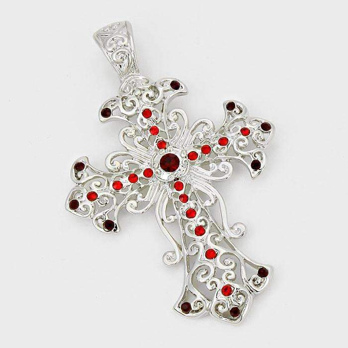 Red Siam Crystal Accented Filigree Silver Cross Pendant Necklace