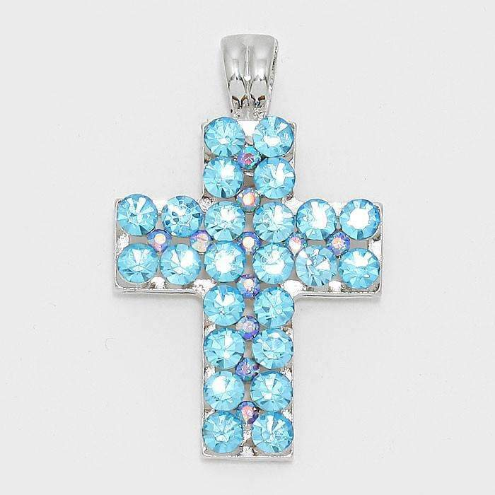 Aqua Blue Crystal Cross Silver Magnetic Pendant Necklace