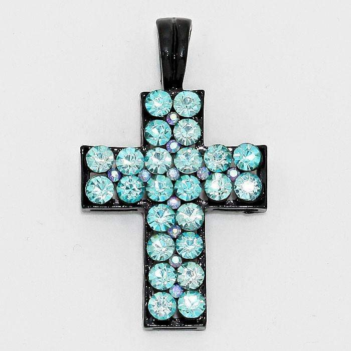 Black & Teal Blue Crystal Cross Magnetic Pendant Necklace