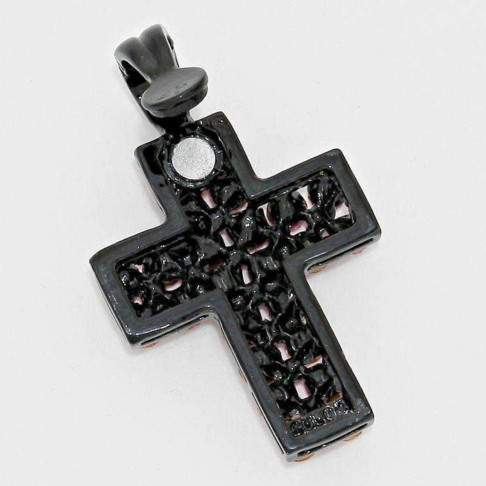 "Black & Clear Sparkly Crystal Cross Magnetic Pendant + 20"" Cord Necklace"