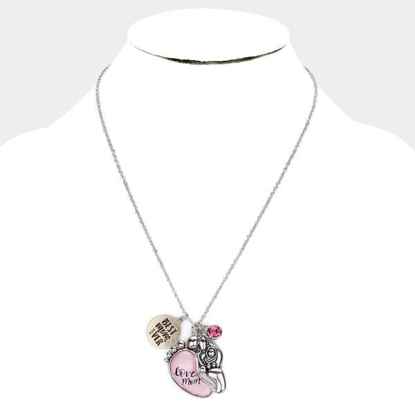 Best Mom Ever Baby Feet Pendant Necklace