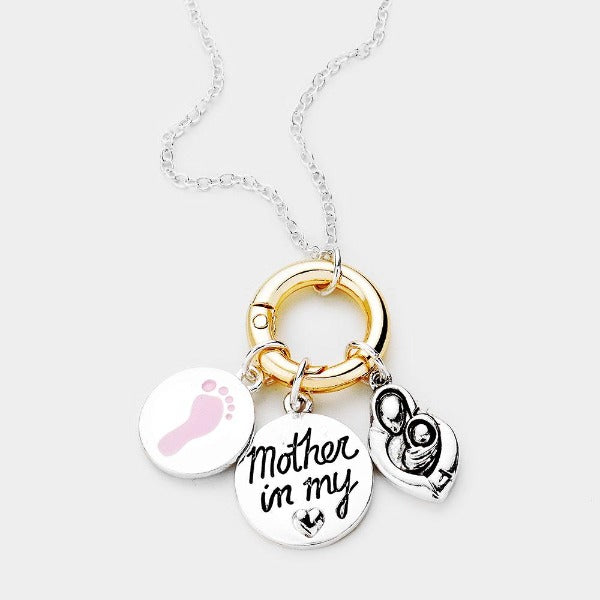Mother In My Heart Baby Foot Pendant Necklace
