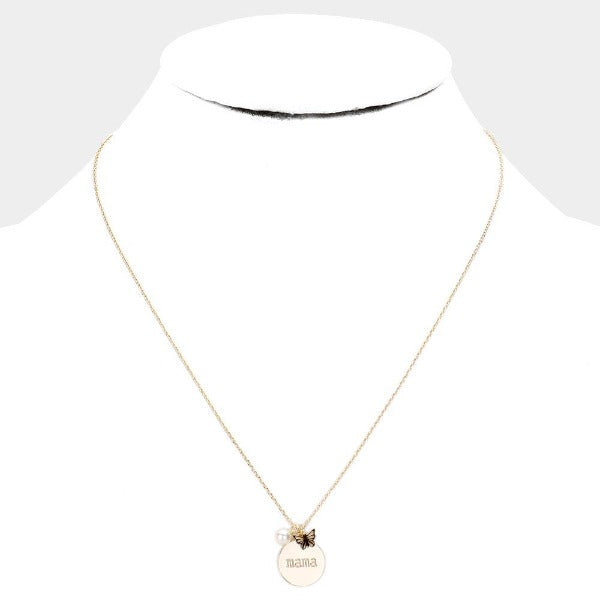 mama Gold Metal Disc Butterfly Pearl Necklace