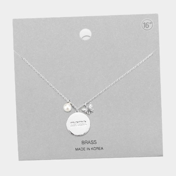 mama Silver Disc Butterfly Pearl Necklace