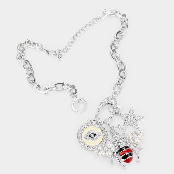 Honey Bee Evil Eye Star Pearl Rhinestone Necklace & Earring Set