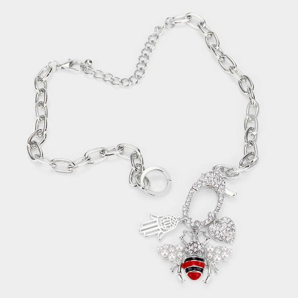 Honey Bee Hamsa Hand Heart Pearl Rhinestone Pendant Necklace