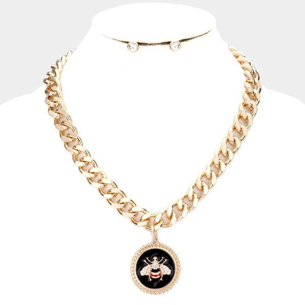 Honey Bee Enamel Round Rhinestone Necklace Set
