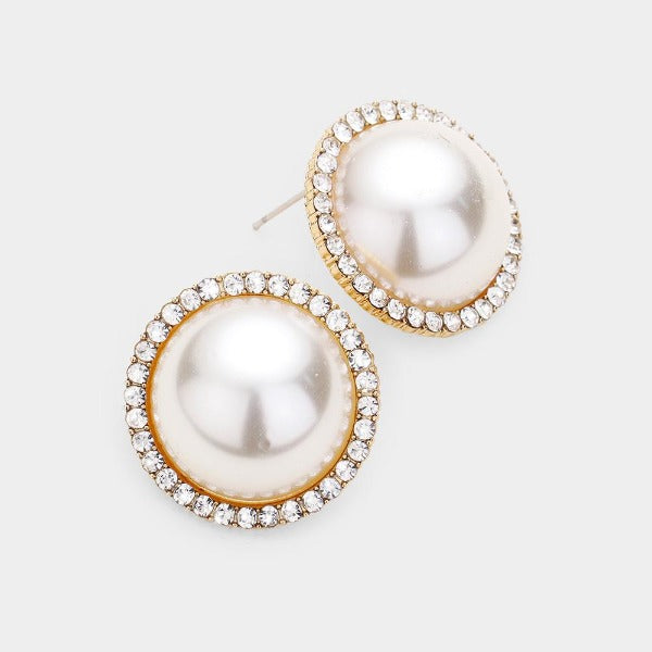 Cream Pearl & Pave Rhinestone Round Gold Earrings