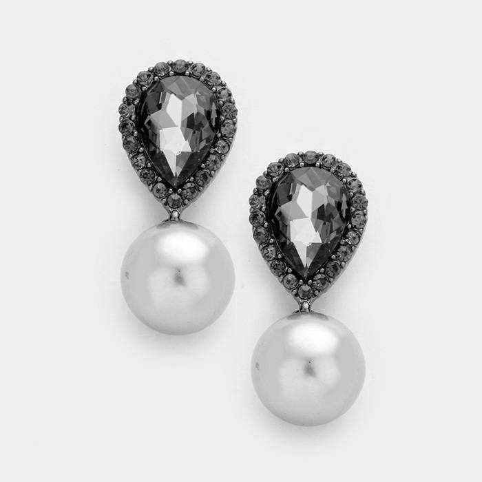 Black Crystal Teardrop & Gray Faux Pearl Evening Dangle Earrings