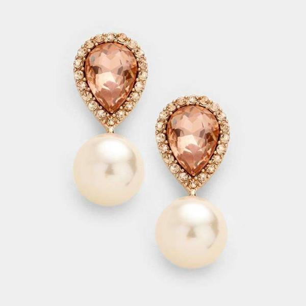 Peach Crystal Teardrop & Pearl Evening Earrings