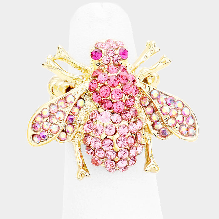 Honey Bee Pink Crystal Stretch Ring