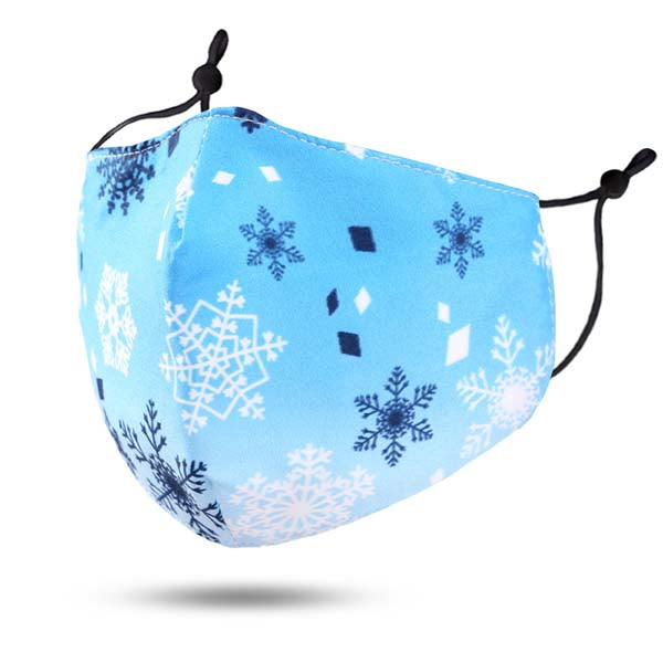 Kid's Face Mask Snowflake Print 100% Cotton Reusable Washable Filter Pocket