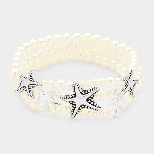Starfish Pearl Stretch Bracelet