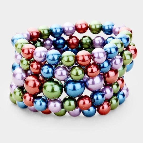 5 Piece Chunky Multi-Color Pearl Stretch Layered Bracelets
