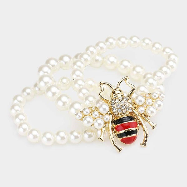 Pearl Honey Bee Accented Stretch Bracelet