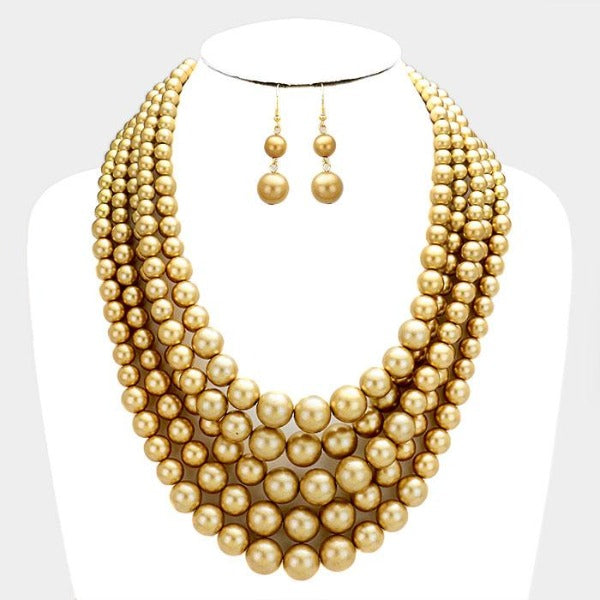 5 Strand Gold Pearl (faux) Necklace & Earring Set