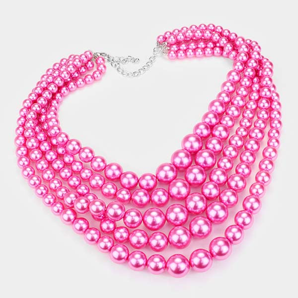 5 Strand Pink Pearl (faux) Necklace & Earring Set