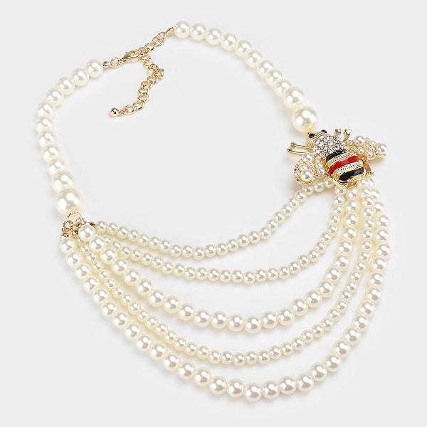 Honey Bee Accented Pearl Bib Necklace & Earring Set
