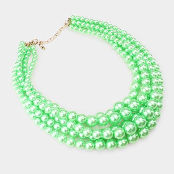 5 Strand Mint Green Pearl (faux) Necklace & Earring Set