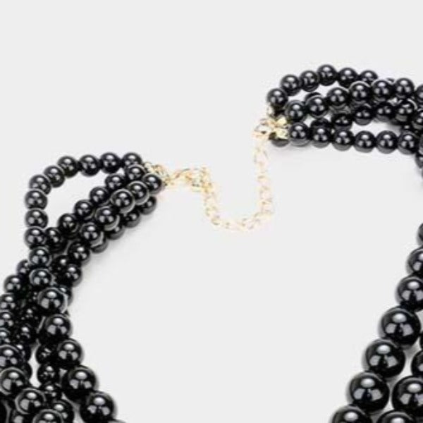 Black Pearl (faux) Necklace & Earring Set