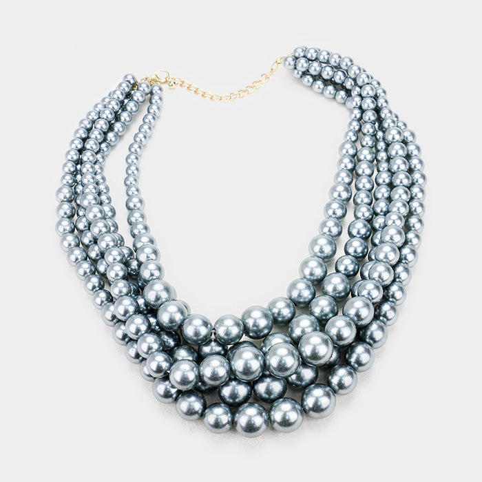 Gray Pearl (faux) Necklace & Earring Set