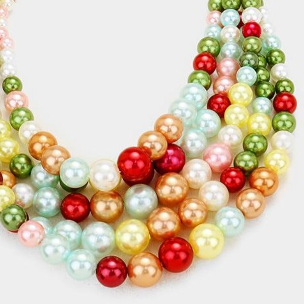 Multi-Colored Pearl (faux) Necklace & Earring Set