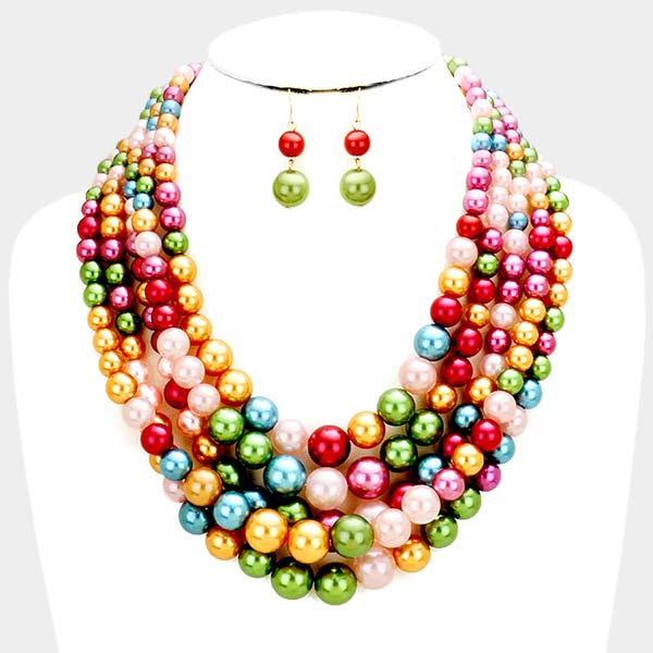 Multi-Color Pearl (faux) Necklace & Earring Set