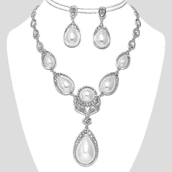 Crystal Pearl Teardrop Flower Necklace & Earrings Set