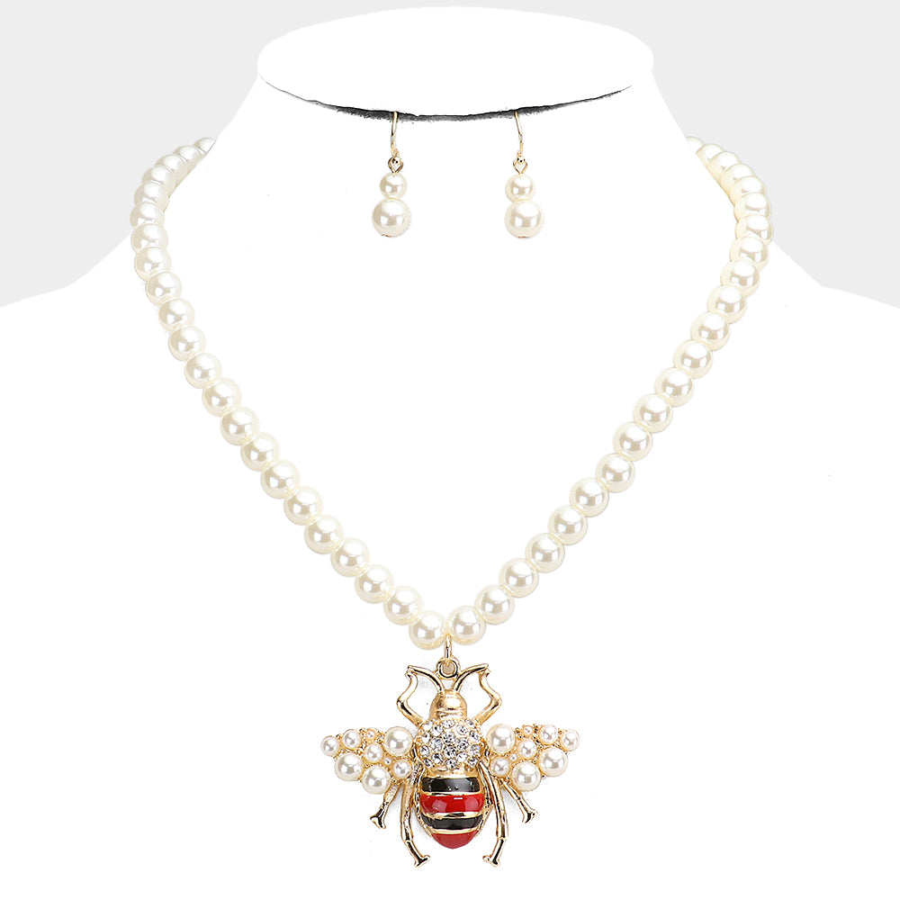 Pearl Honey Bee Pendant Necklace & Earring Set
