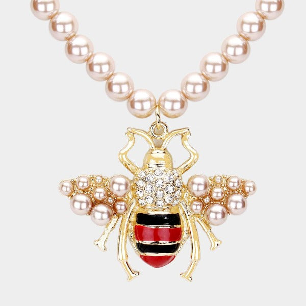 Honey Bee Brown Pearl Pendant Necklace & Earring Set