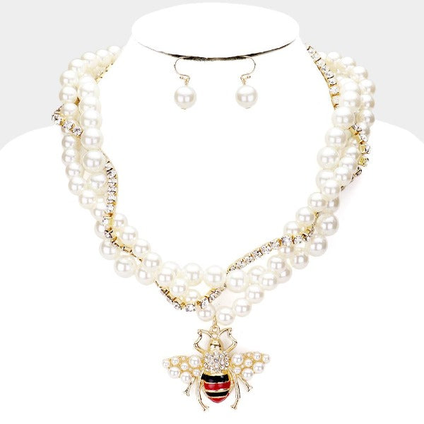 Honey Bee Braided Pearl Tennis Chain Necklace & Earring Set