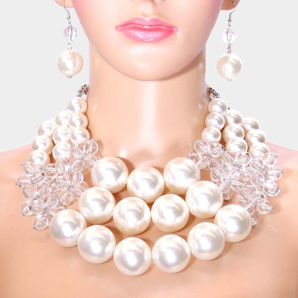 Chunky White Pearl (faux) Triple Layer Necklace