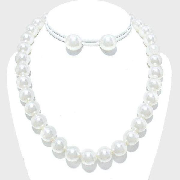 White 12mm Faux Pearl Necklace & Earring Set 16