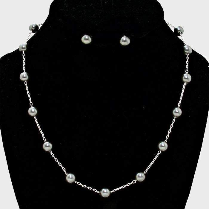 Gray Faux Pearl & Silver Station Necklace & Earring Set 17""