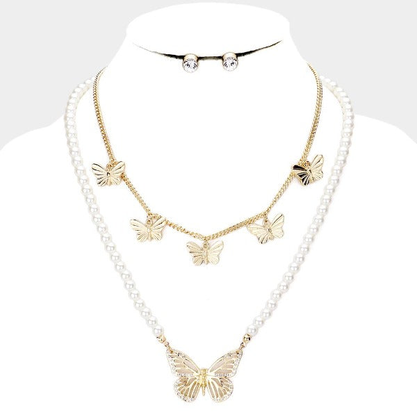 Butterfly Pearl Rhinestone 2 Piece Necklace Set