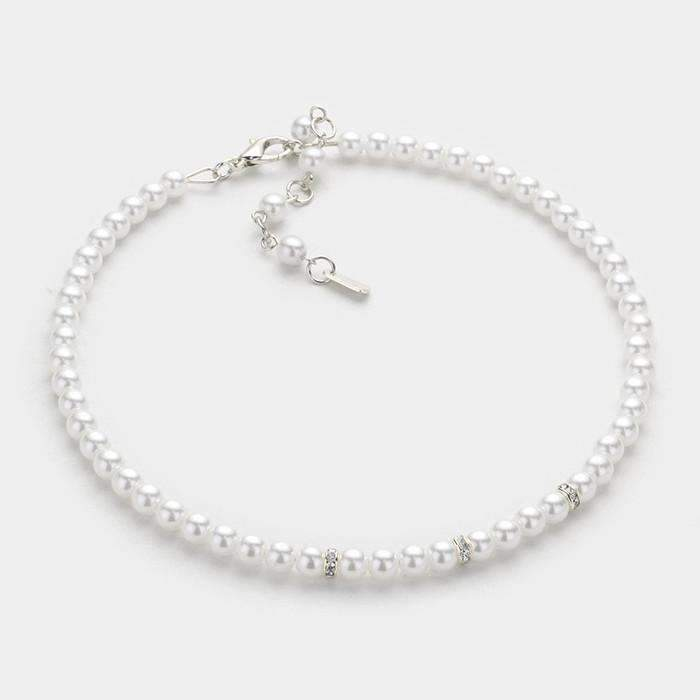 Pearl Strand & Clear Crystal Silver Choker Evening Necklace & Earring Set