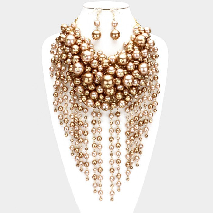 Pearl Strand Brown, Gold Fringe Bib Necklace & Earrings